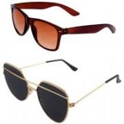Daller Retro Square, Wayfarer Sunglasses(Black, Brown)