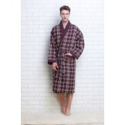 Evateks Стильный мужской вафельный халат из натурального хлопка коричневого цвета в клетку Evateks №10020 Коричневый