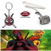 (2 Pcs SET) - DEADPOOL BLACK IMPORTED KEYCHAIN & THOR HAMMER (SILVER) IMPORTED METAL PENDANT WITH CHAIN. LADY HAWK DESIGNER SERIES 2018. ❤ ALSO CHECK FOR LATEST ARRIVALS - NOW ON SALE IN AMAZON - RINGS, KEYCHAINS, NECKLACE, BRACELET & T SHIRT - CAPTAIN AM