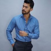 Tailor Store Business dress shirt in petrol blue
