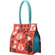AGGDA Women Waterproof Jute with Owl and Bird Printed Tote Shoulder Bag Waterproof Shoulder Bag(Red, 16 L)