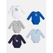 Guess Verpakking 5 Rompers Stretchkatoen Jersey - Blauw multi - Size: 6/9M