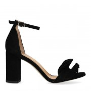Sacha Zwarte sandalen met hak en ruffles