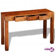 vidaXL Konzolni Stol s 3 Ladice 80 cm od Masivnog Sheesham Drva