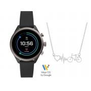 Relógio Smartwatch Fossil Sport Preto FTW6024/8FI + Cordão Bike