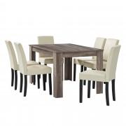 PremiumXL - [en.casa] Elegantan blagovaonski set - stol(hrast/tamno smeđa) + 6 stolica (krem)