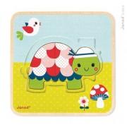 JANOD Puzzle drewniane 3-warstwowe Żółwie - drewniana układanka żółw,
