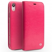 QIALINO Genuine Cowhide Leather Wallet Casing for iPhone XR 6.1 inch - Rose