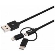 Cablu de date Tellur TLL155342 Micro USB + adaptor Lightning + adaptor USB Type-C, 10cm (Negru)