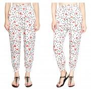Suelto Pantalones De Pierna Ancha /harén Con Bolsillos Estampado Floral -Bandera -Labios Blanco