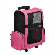 [pro.tec]® Kisállat szállítókocsi hátizsák 2 az 1-ben kerekes bőrönd szállító táska 36 x 30 cm pink