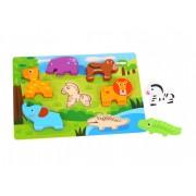 Tooky Toy Figursågat träpussel tjocka delar safaridjur