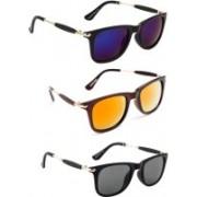 PARRK Wayfarer Sunglasses(Violet, Orange, Black)