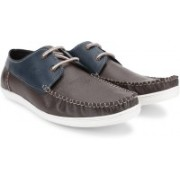 Mr.CL Genuine Leather Boat Shoes For Men(Brown, Blue)
