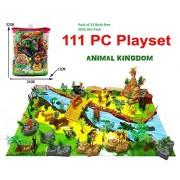 PLUSPOINT Exclusive Animal Play Set of Farm Animals / Animal Kingdom / Dino World Each Consists of -111 PCS with a Play MAT (Animal Kingdom)
