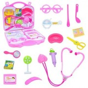 Pepperonz Child Family Mini Medical Doctor Play Set For Kids With Durable Case (Pink)