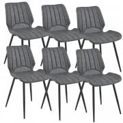 [en.casa]® Комплект от 6 дизайнерски стола 77 x 57,5 x 46 cm, Еко кожа, Тъмносив