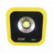 Proiector LED 50W Alb Rece 220V Rama Galbena