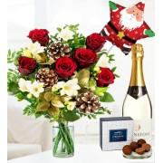Festive Rose & Freesia Gift Bundle - Free Chocs