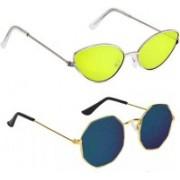 BKGE Retro Square, Cat-eye Sunglasses(Blue, Yellow)