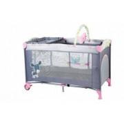 BabyGo - Patut Pliant Cu 2 Nivele Sleepwell Pink