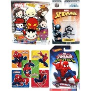 Sinister 6 Spider-Man Hot wheels Ultimate Bruiser Car & Black Suit Mini Figure Die-Cast Metal NanoFig with Marvel Blind Bag Key Ring & Bonus Stickers