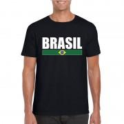 Bellatio Decorations Braziliaanse supporter t-shirt zwart/ wit voor heren S - Feestshirts