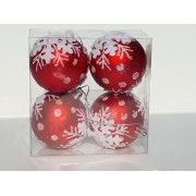 Set 4 globuri rosii