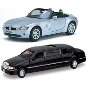 Playking Kinsmart Combo of 5'' BMW Z4 Scale 1:32 and 1999 Lincoln Town Car Stretch Limousine 7'' Scale 1:38 Die Cast Metal, Doors Openable and Pull Back Action (Color May Vary)
