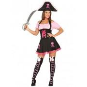 Vegaoo Kostüm rosa und schwarz für Damen
