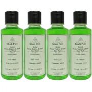 Khadi Pure Herbal Neem Teatree and Basil Face Wash Paraben Free - 210ml (Set of 4)