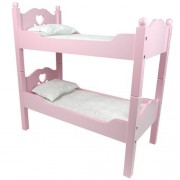 18 Inch Doll Furniture by Sophias, Bunk Bed in Pink Cutout Design, Ladder & 2 Doll Bedding Sets, Fit