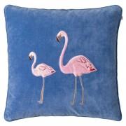 Flamingo Embroidered Flamingo Kuddfodral 50x50 cm, Riviera Blue