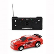 E-SCENERY_Toy Vehicles Multicolor Rc Remote Radio Control Mini Micro Racing Car Pocket Race Car Toy with Led Light Toddlers and One Size Red