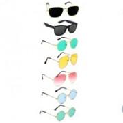 SRPM Aviator, Round, Retro Square, Wayfarer Sunglasses(Black, Green, Yellow, Pink, Blue)