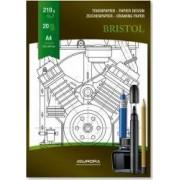 Bloc desen A4 20 file - 210g-mp pentru schite creion-marker AURORA Bristol - carton alb