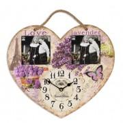 Ceas inima lila din lemn cu doua rame 3305
