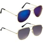 NuVew Aviator, Retro Square Sunglasses(Blue, Grey)