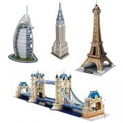 3D Puzzle Toys for School Kids Assembling Parts Set of 4-Burj Al Arab, Eiffel Tower, Tower Bridge, Chrysler Building