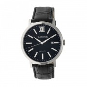 Heritor Automatic Bristol Leather-Band Watch w/Date - Silver/Black HERHR5306