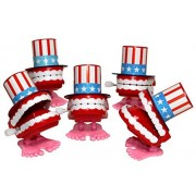 "Lucore 2"" Uncle Sam Chattering Teeth Wind up Toys - 5 pcs Set American USA Flag Top Hat Patriotic Novelty Gags"