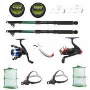 Set complet de pescuit sportiv pentru doua persoane cu lansete eastshark 2 4m doua mulinete si accesorii