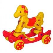 Pihu Enterprises 2 in 1 Rocker cum Roller Musical baby Horse Rider Red & Yellow (Asian)