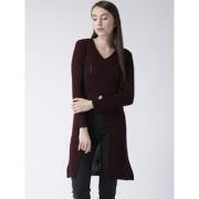 Club York women's v-neck full sleeve solid long sweater