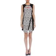 【65%OFF】幾何学柄 フラワー刺しゅう ジップ ノースリーブドレス ブラック 38 ファッション > レディースウエア~~ワンピース
