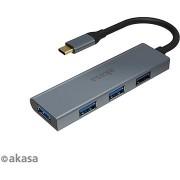 AKASA USB Type-C Hub - 4 x USB3.0 A / AK-CBCA25-18BK típusú
