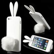 Силиконов калъф със заешки уши и опашка за IPhone 5/5S - бял