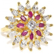 Rubans Gold Toned Colorstone Floral Staement Ring