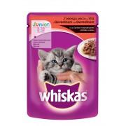 Котешка храна за малки котета Whiskas Pouch говеждо, 6 броя х 100 г