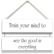 100yellow Train Your Mind Wall Door Hanging Board Plaque Sign For Wall Dcor (7 X 12 Inch)